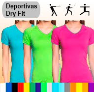 Camisetas tela deportiva dry fit femenino